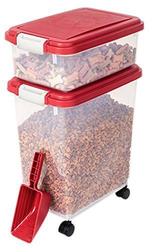 Myriad Pet Solutions 3 Piece Pet Food Storage Bin With Scoop Red