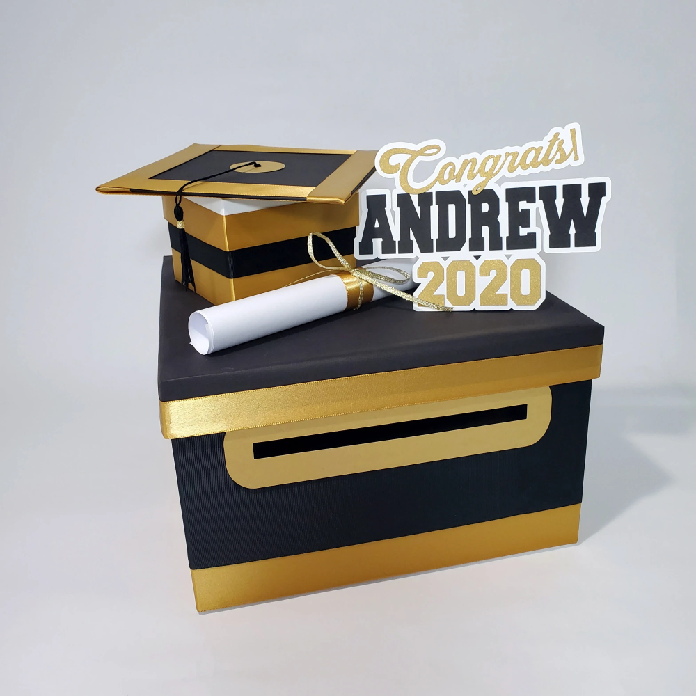 Graduation Card Box Black Gold 10x10 Graduation Party Card Box Graduation Card Boxes Graduation Party Cards