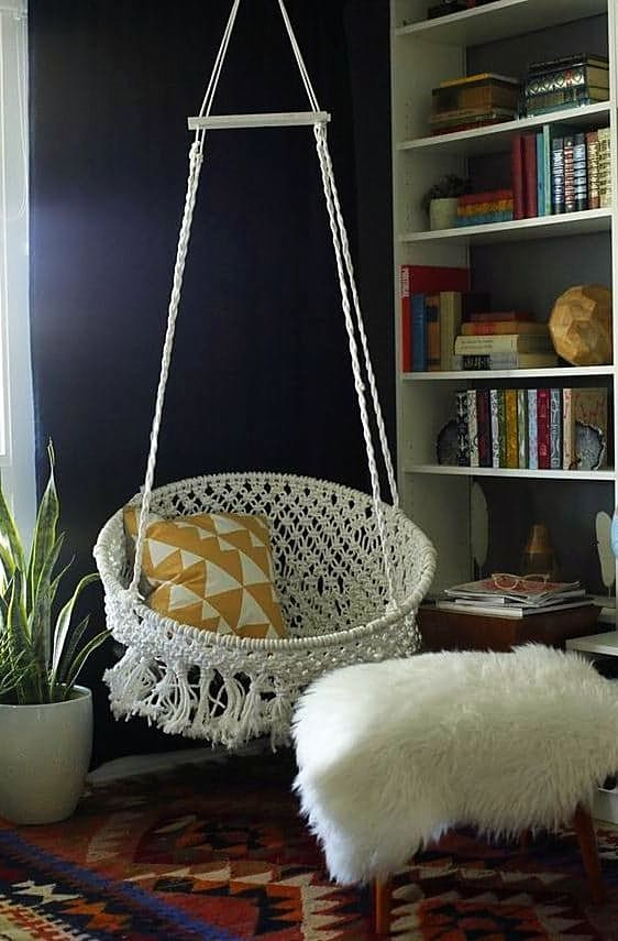 Get Started Now 9 Stylish Gifts To Stitch Knit Or Embroider Diy Hanging Chair Macrame Hanging Chair Macrame Chairs