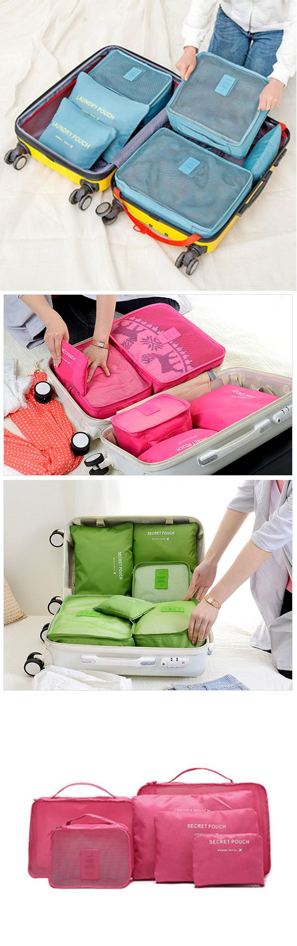 Us1199 Free Shippingmaterial Oxford Fabric 7 Colors To Match Value Pack Travel Size Pouch 6 X Waterproof Storage Bag Multi In A Set