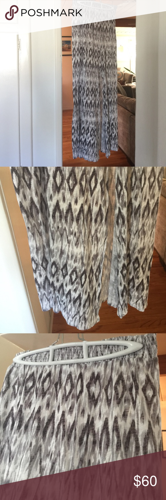 "Joie S•O•F•T maxi skirt with side slit Like wearing the most comfortable, worn-in t-shirt! Joie ""SOFT"" line lives up to expectations. Elastic waistband. Side slit for mobility. Black, white, gray ikat. Worn once. Soft Joie Skirts Maxi"