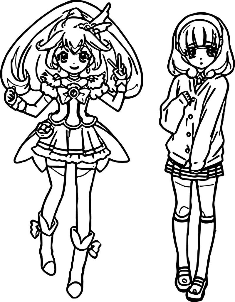 Glitter Force Two Girl Coloring Page Coloring pages for