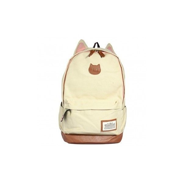 Cute Canvas Cat Ear Backpack Women Travel Backpack (19 CAD) ❤ liked on Polyvore featuring bags, backpacks, beige, canvas knapsack, canvas travel backpack, daypack bag, canvas bag and beige bags