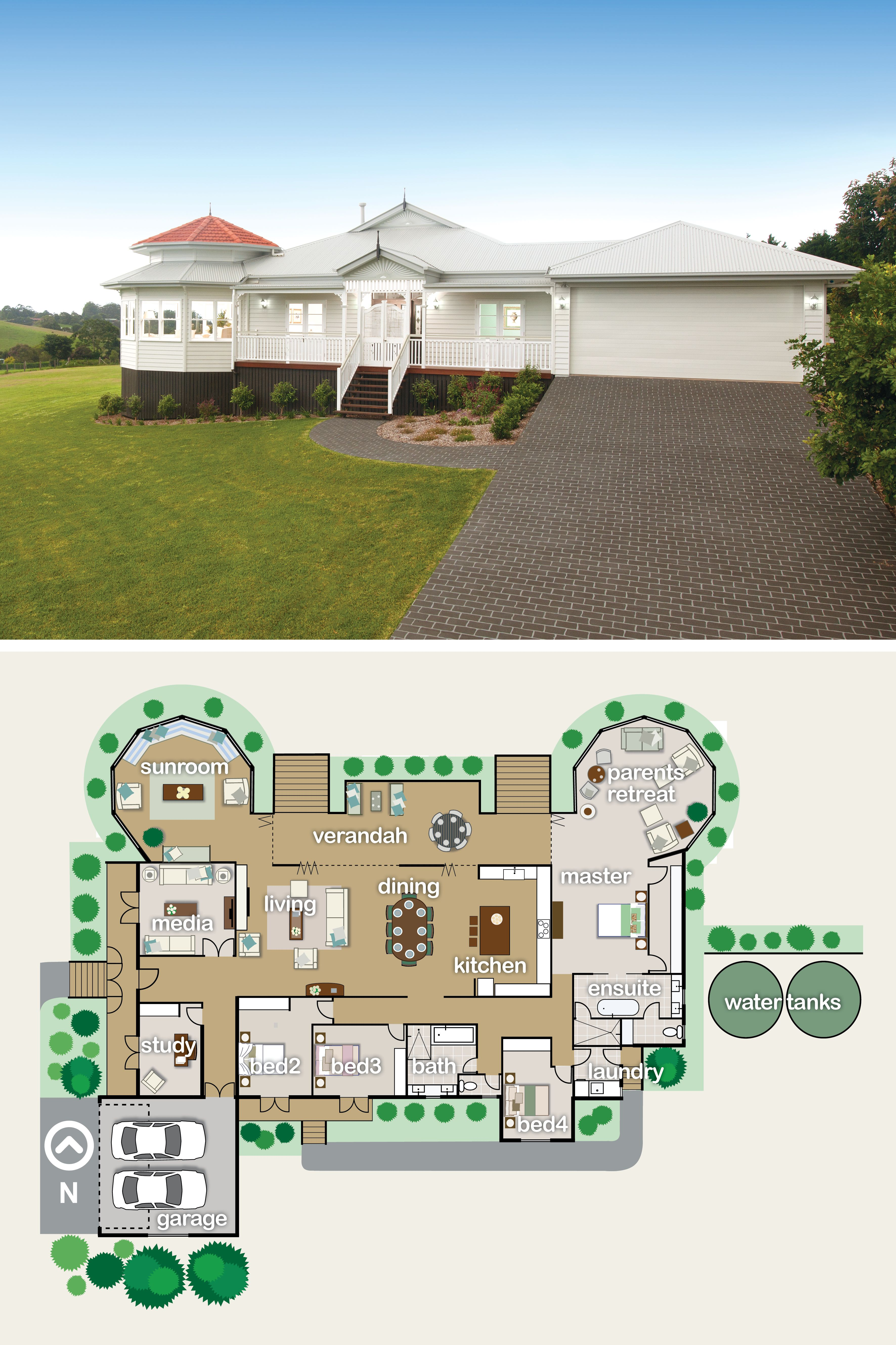 Love This Single Level Floorplan The Heart Of The Home Is So Open With Folding Doors To The Veranda And Look A New House Plans House Plans Queenslander House