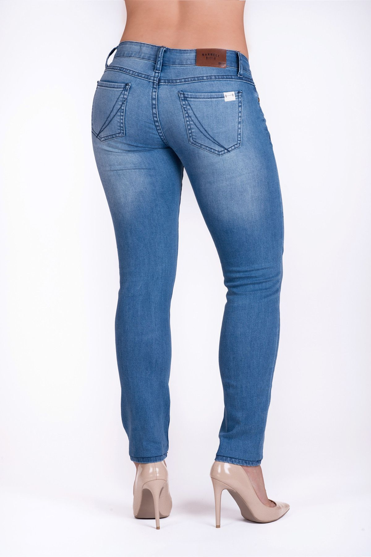 Slim athletic fit in light wash fitness gear jeans