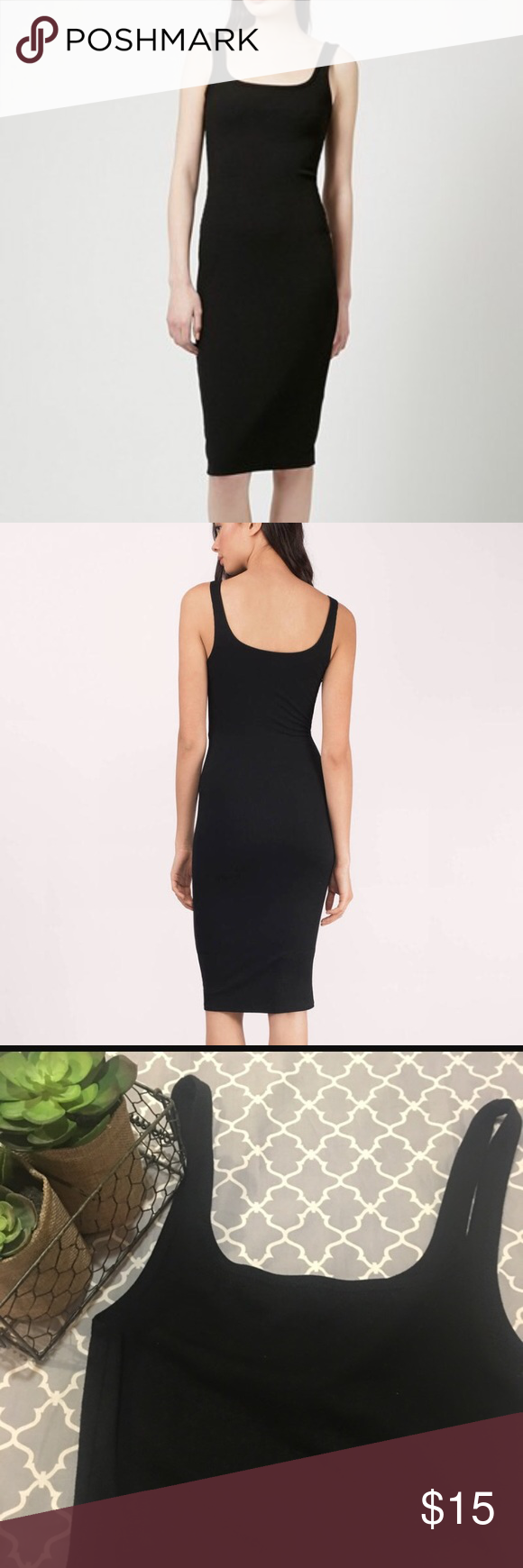 Zara basic black midi dress l black midi dress midi dresses