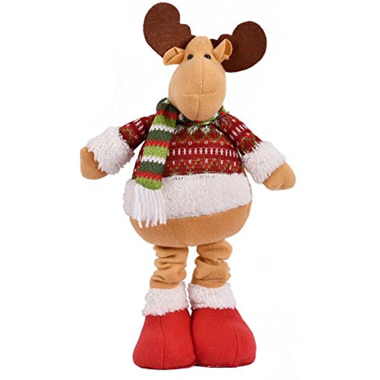 Christmas Decorations Plush Telescopic Doll Xmas Santa Claus Elk Snowman