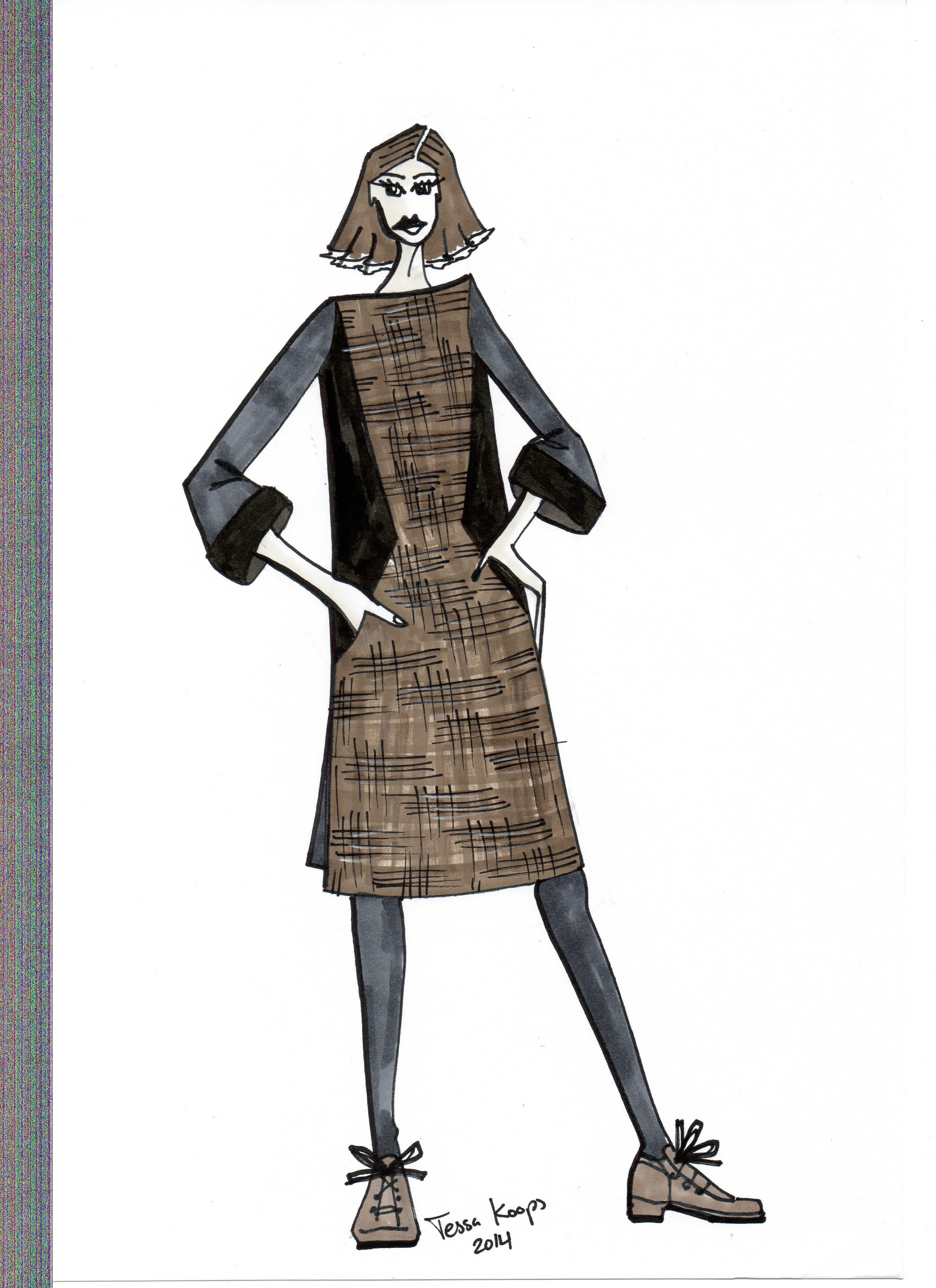Illustrated T-shirt dress, from a combination of black jersey and stretch tweed, in a boxie and straight shape with turn up cuffs #boxie #dress #straight www.tessakoops.com