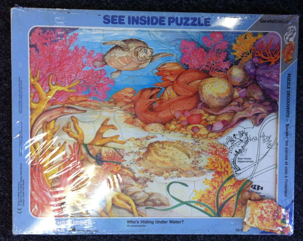 Rare Ravensburger See Inside Under Water Frame Tray Puzzle 34 Pcs 1991 Ravensburger Ravensburger Frame Tray Developmental Toys