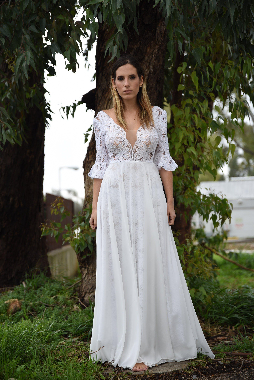 Boho wedding dress long sleeve bohemian wedding dress