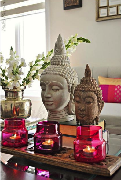 Living room vignette buddha head with pops of pink home decor and interior decorating ideas also rh pinterest