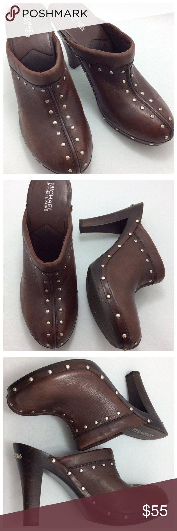 """MK Heeled Clogs Signature MK grommets embellish this pair of beautiful chocolate leather clogs. Silver logo plate on wooden 4.5"""" heel. Previously worn, signs on heel, in otherwise great condition. True to size 10 MICHAEL Michael Kors Shoes Mules & Clogs"""