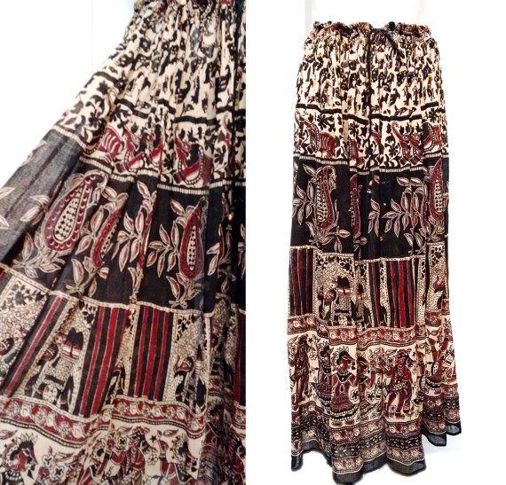 Cotton India Gypsy Skirt Vintage 60's  Hippie BoHo by DorisVintage
