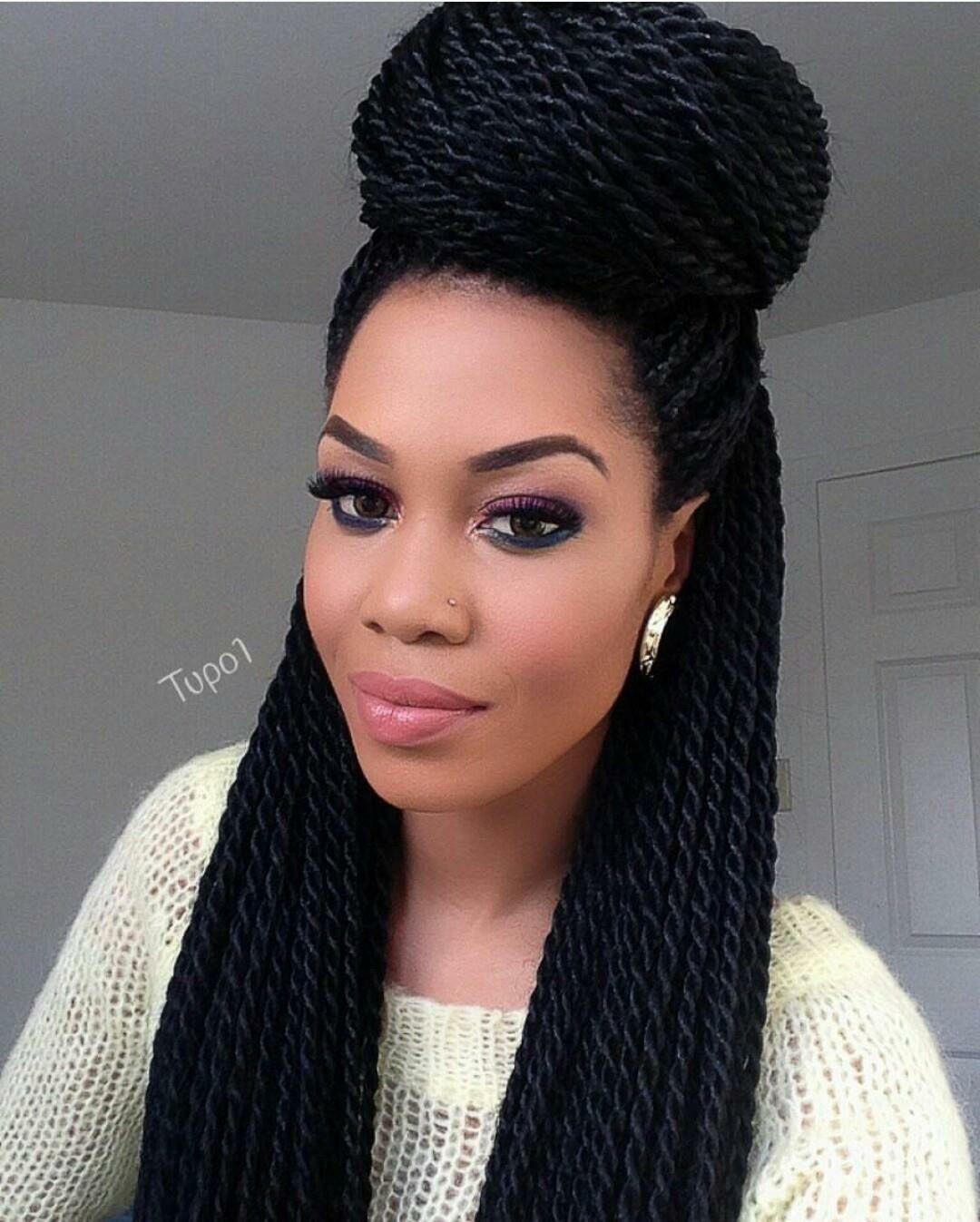 49 Senegalese Twist Hairstyles for Black Women | StayGlam |Medium Senegalese Twists Bun