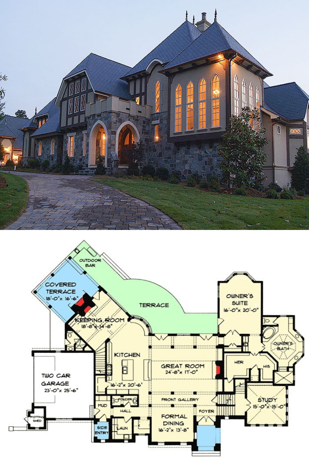 Two Story 5 Bedroom Luxury Tudor Home With First Floor Primary Suite Floor Plan House Plans Mansion Mansion Floor Plan Mansion Plans