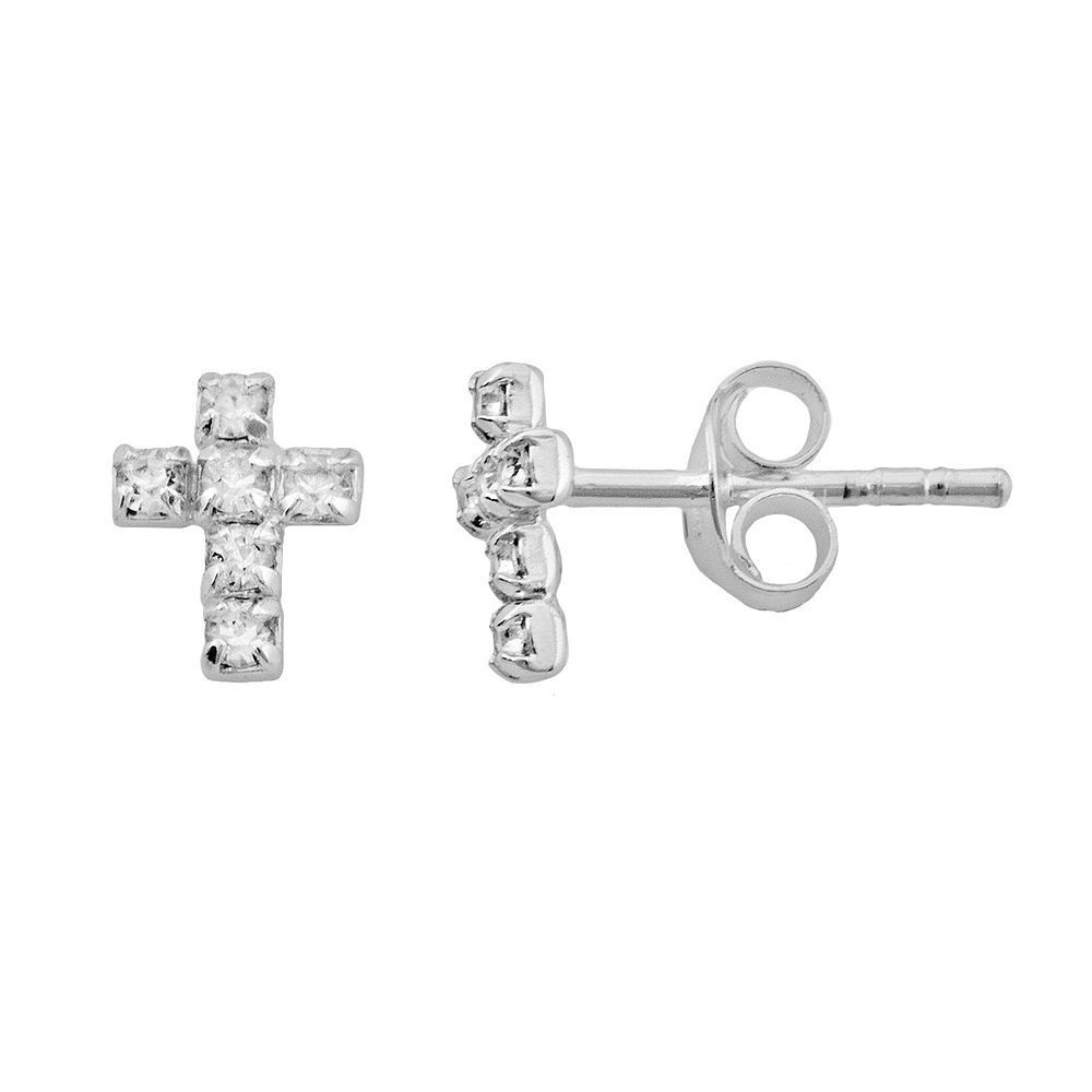 acf51e1cb Itsy Bitsy Sterling Silver Crystal Cross Stud Earrings | Products ...
