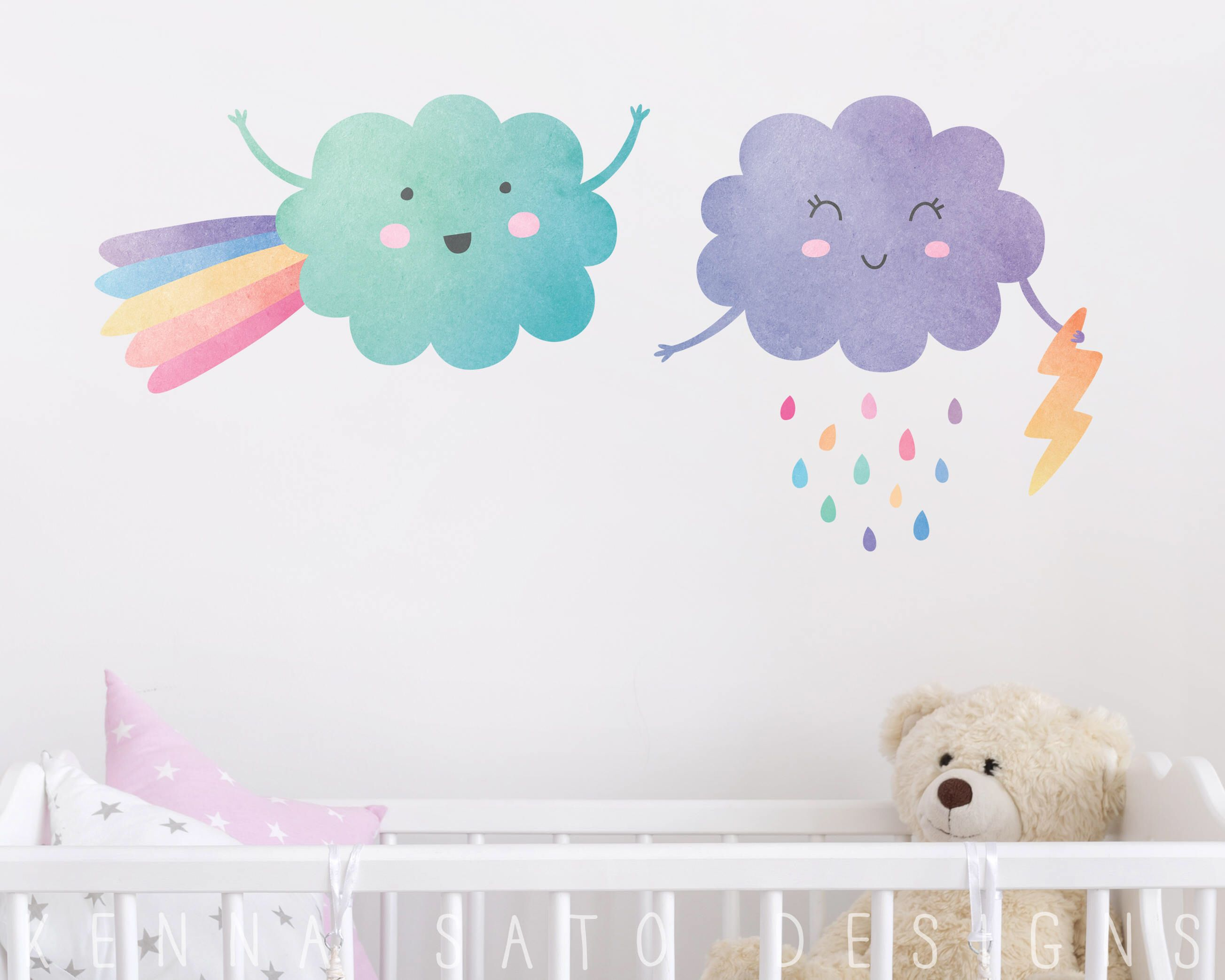 Watercolor Cloud & Raindrop Wall Decals  Reusable Wall Decals,