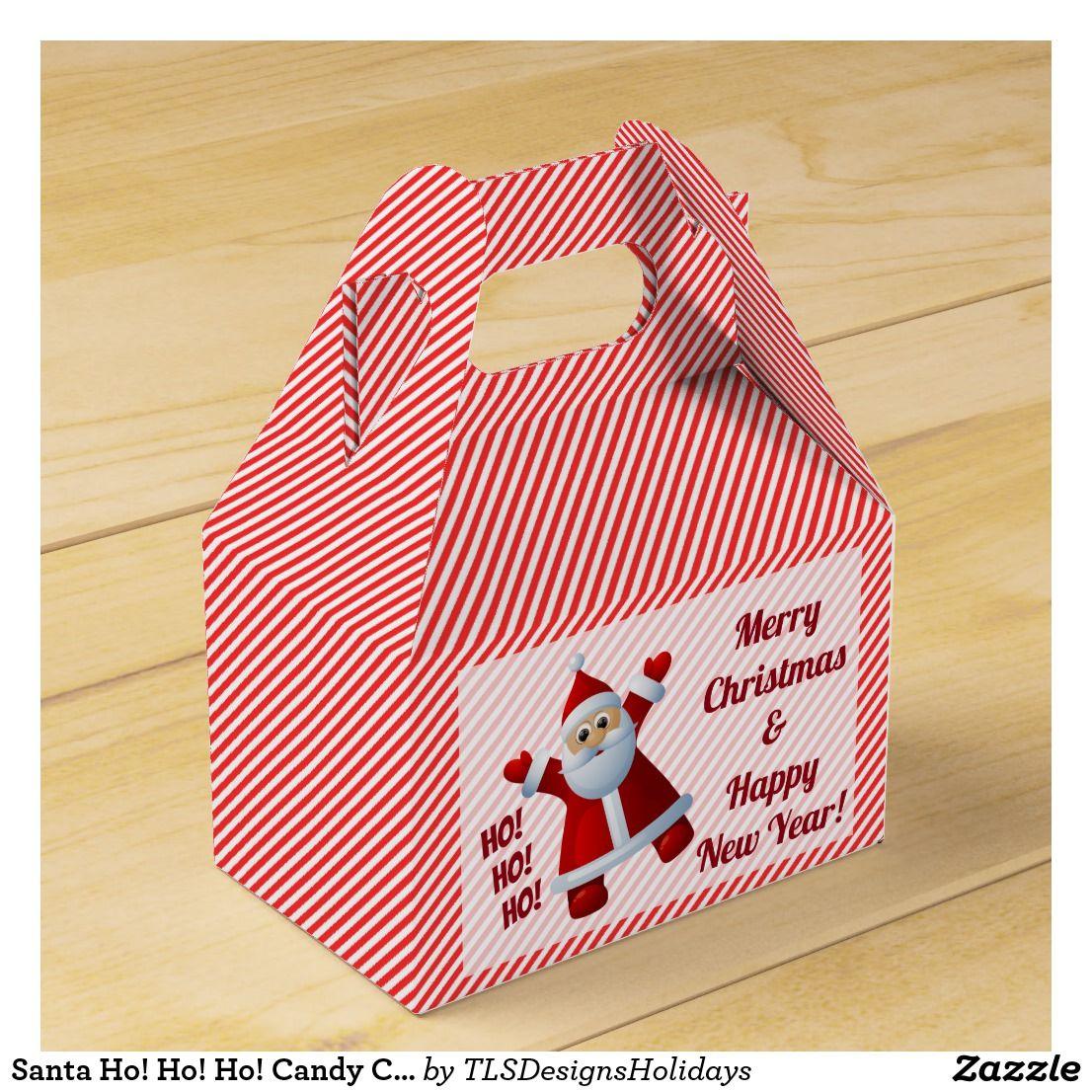 Santa Ho! Ho! Ho! Candy Cane Stripes Customize Favor Box | Holiday ...
