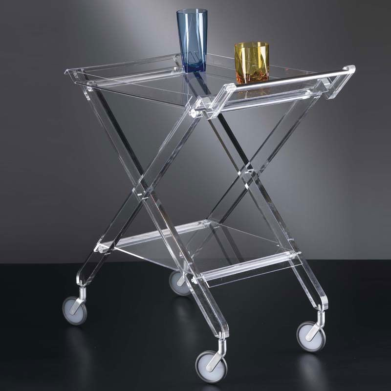 con Rotelle Acciaio plastica Vetro Portavivande con 2 Ripiani a Specchio Oro HxD: 75 x 50 cm Relaxdays 10031631 Carrello da Cucina Rotondo