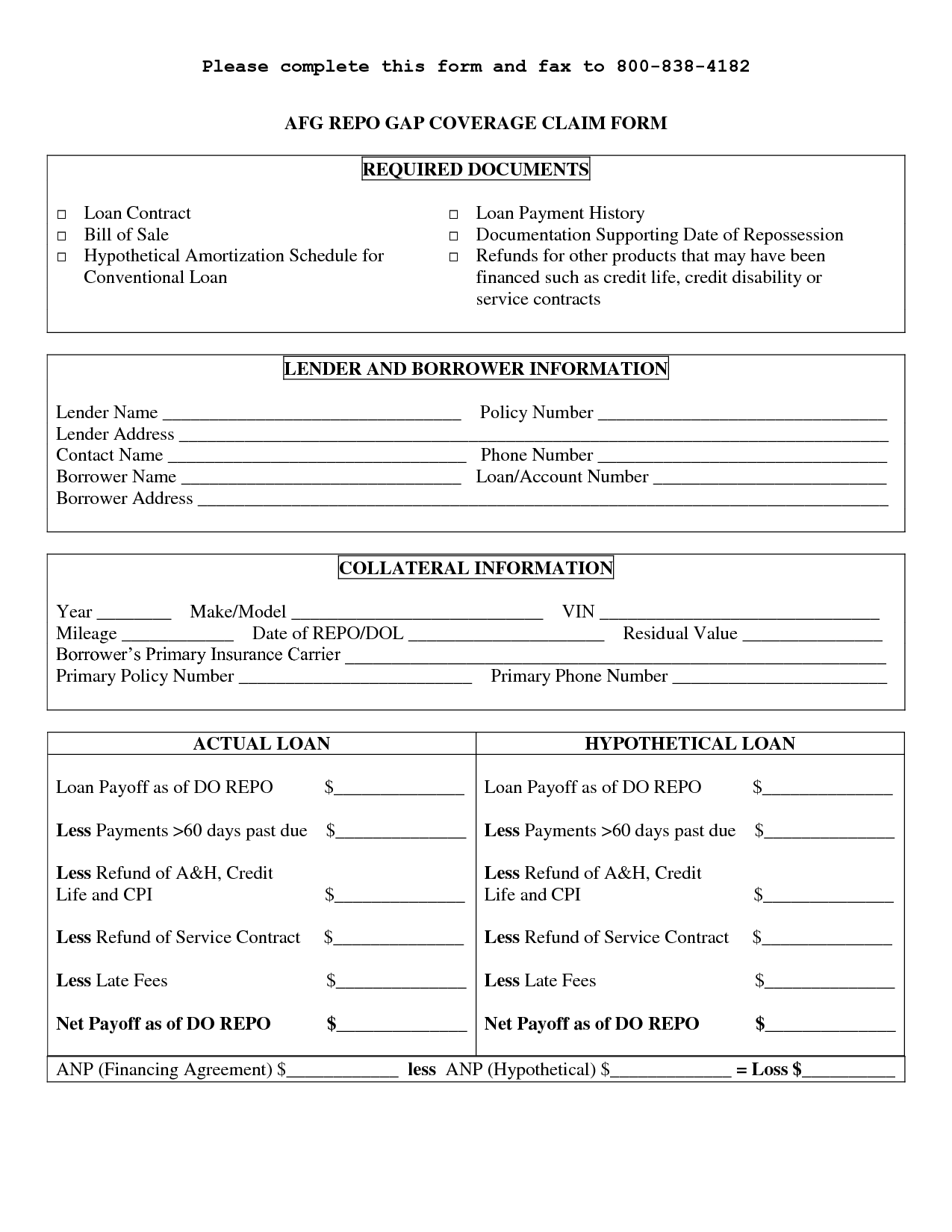 Printable Sample Personal Loan Contract Form Laywers Template