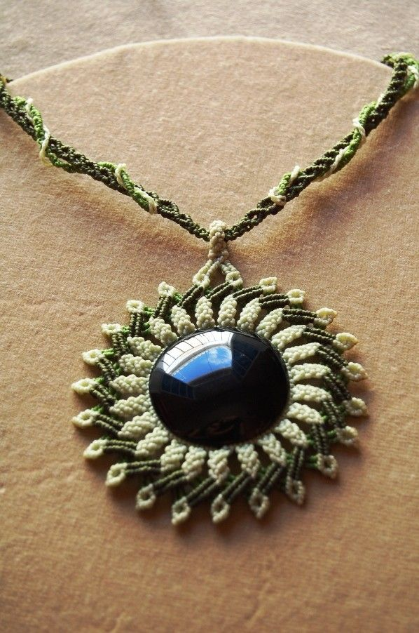 Cavandoli Macrame STATEMENT NECKLACE MANDALA with black obsidian. €49.00, via Etsy.