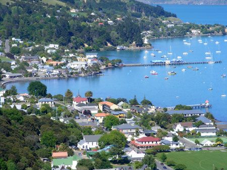 Akaroa, on the south Island of New Zealand was settled by the French.  We spent the night here and the village still has a very French flavor.