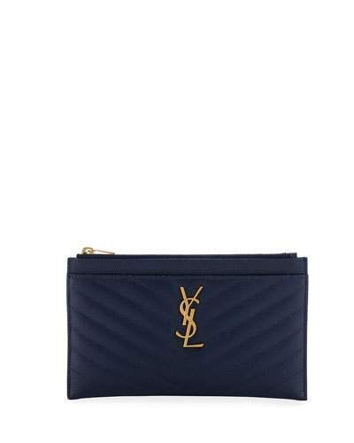 a0b23fae611a Saint Laurent Monogram YSL Matte Quilted Bill Pouch Wallet ...