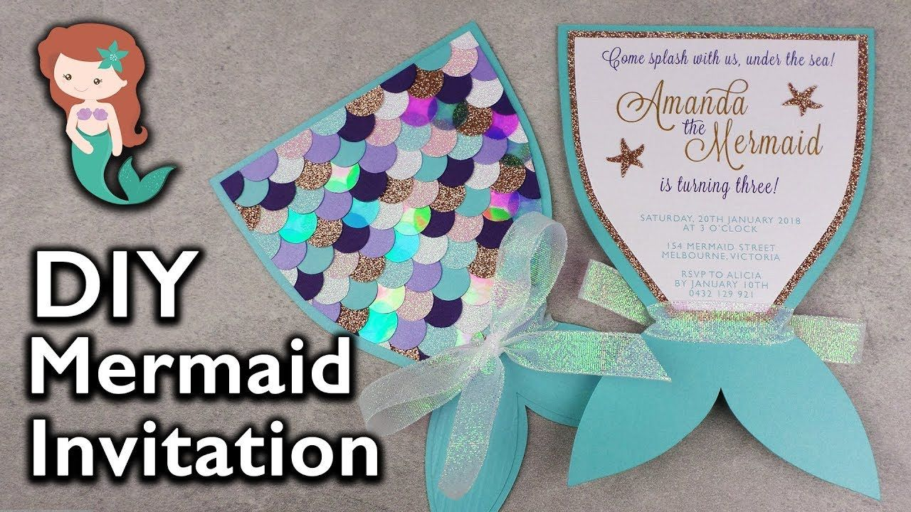 Cute Video On Making These Adorable Invitations Mermaid Invitations Mermaid Party Invitations Mermaid Birthday Party Invitations