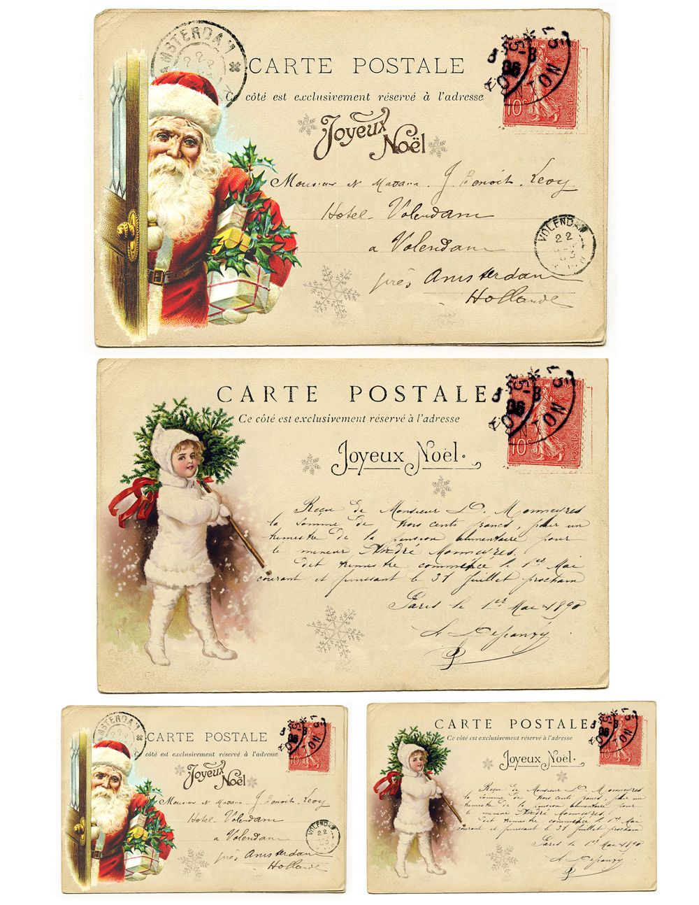 ~ Vintage Victorian Christmas Children Post Cards 4 PRINTS on FABRIC FB 109 ~