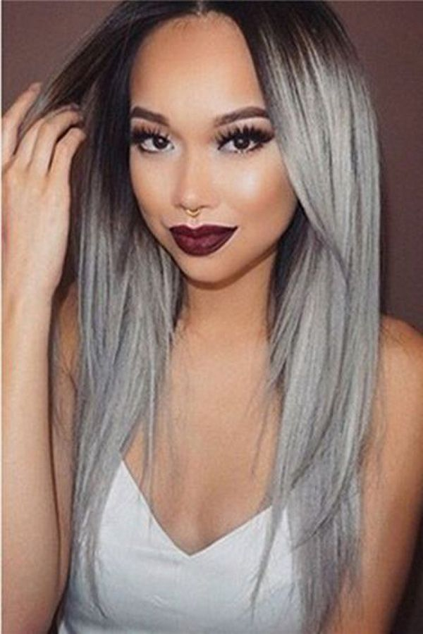 Rabake Hair Brazilian Straight Hair Weave 100% Remy Human Hair Extension 3/4 Bundles 1B Grey Color Ombre Hair Bundles
