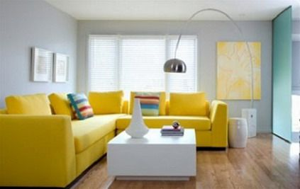 Yellow Corner Sofa Furniture and White Coffee Table in Living Room ...