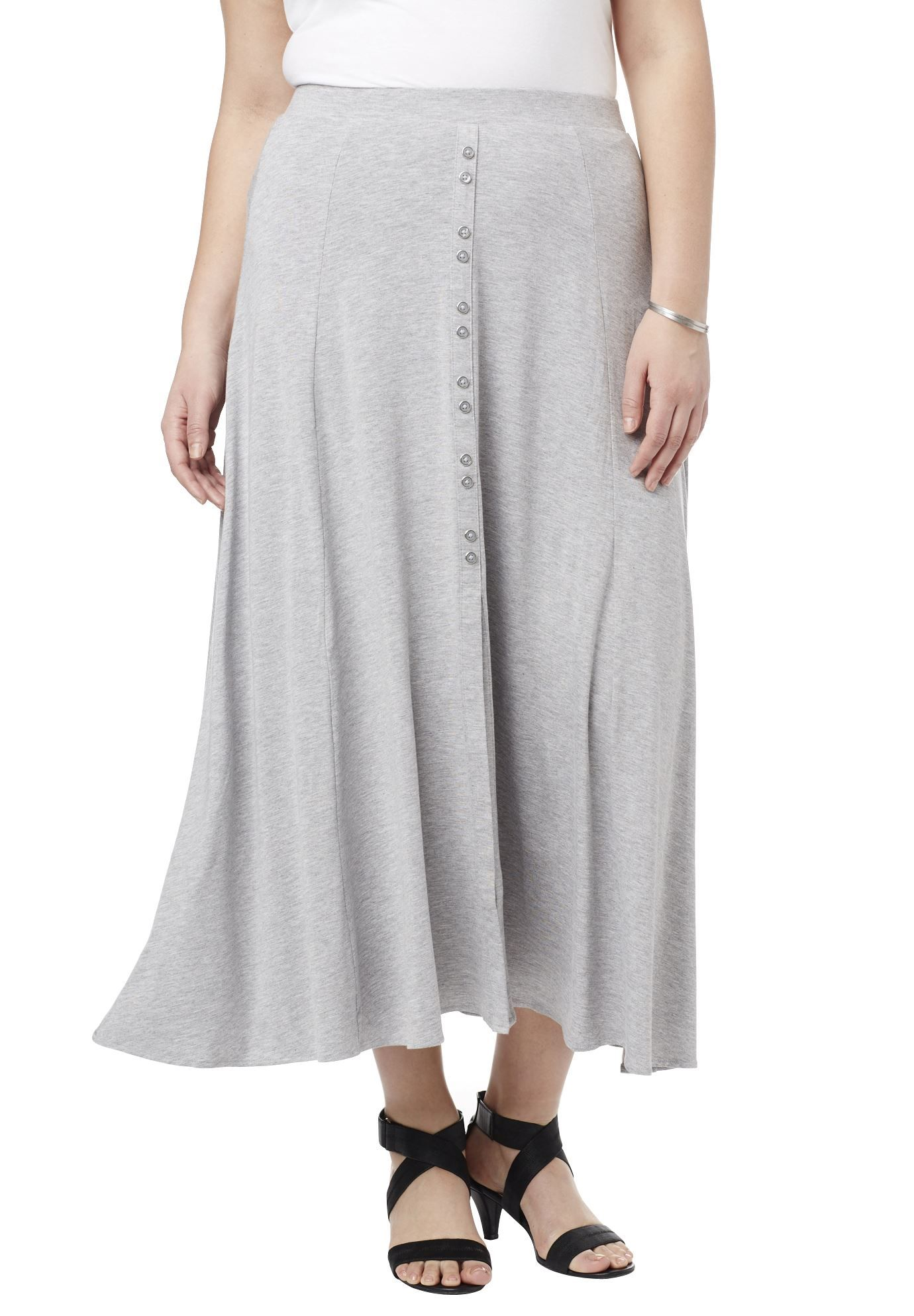 """The button detail adds a playful touch to this plus size skirt.  draped fabric panels add fullness to create a feminine figure flat elasticized waistband non-functional button front placket front slit to the knee for added movement and appeal about 38"""" rayon/spandex, machine wash, imported  plus size skirts- button maxi skirt, sizes S (12W), M (14W-16W), L (18W-20W), 1X (22W-24W), 2X (26W-28W), 3X (30W-32W), 4X (34W-36W), 5X (38W-40W) In Style Now! Maxi skirts are making a comeback thi..."""