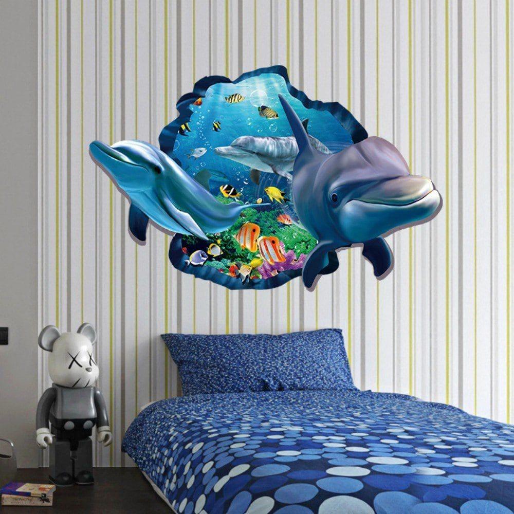 3D Dolphin Underwater Wall Sticker Sea Scenery