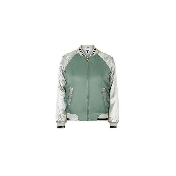 TopShop Shiny Bomber Jacket (51 AUD) ❤ liked on Polyvore featuring outerwear, jackets, shiny jacket, bomber style jacket, green jacket, blouson jacket and flight jacket