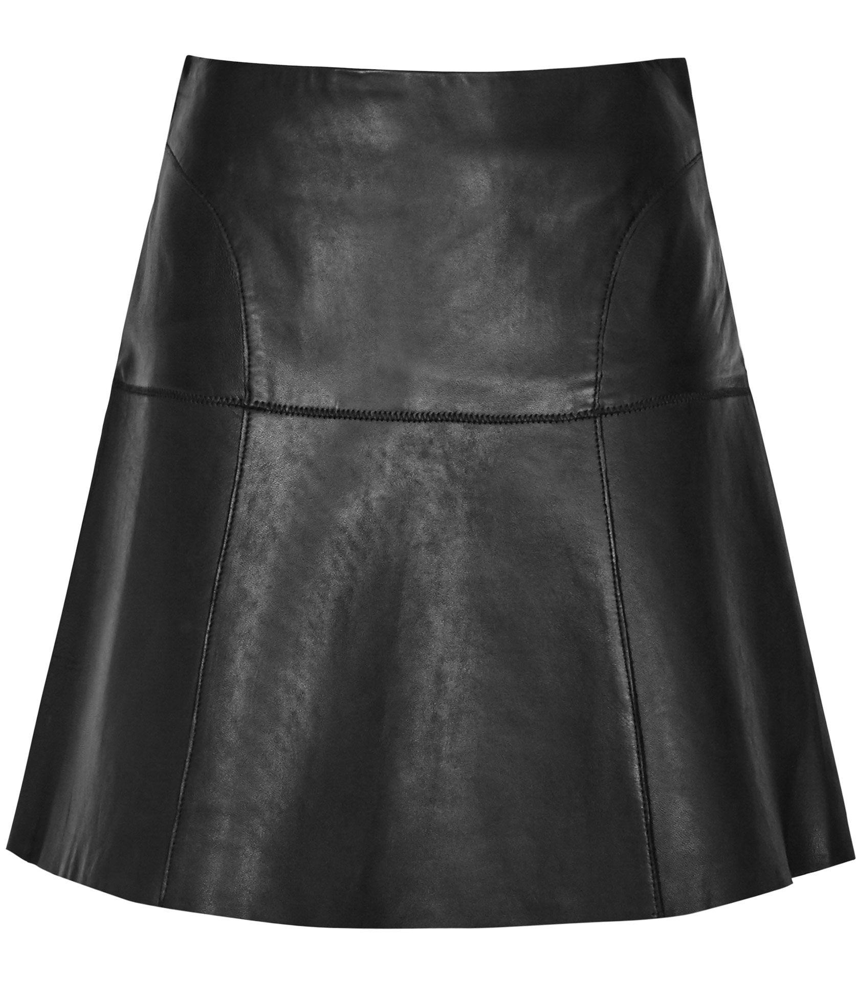 Fashion · Womens Black Leather A-line Mini Skirt ...