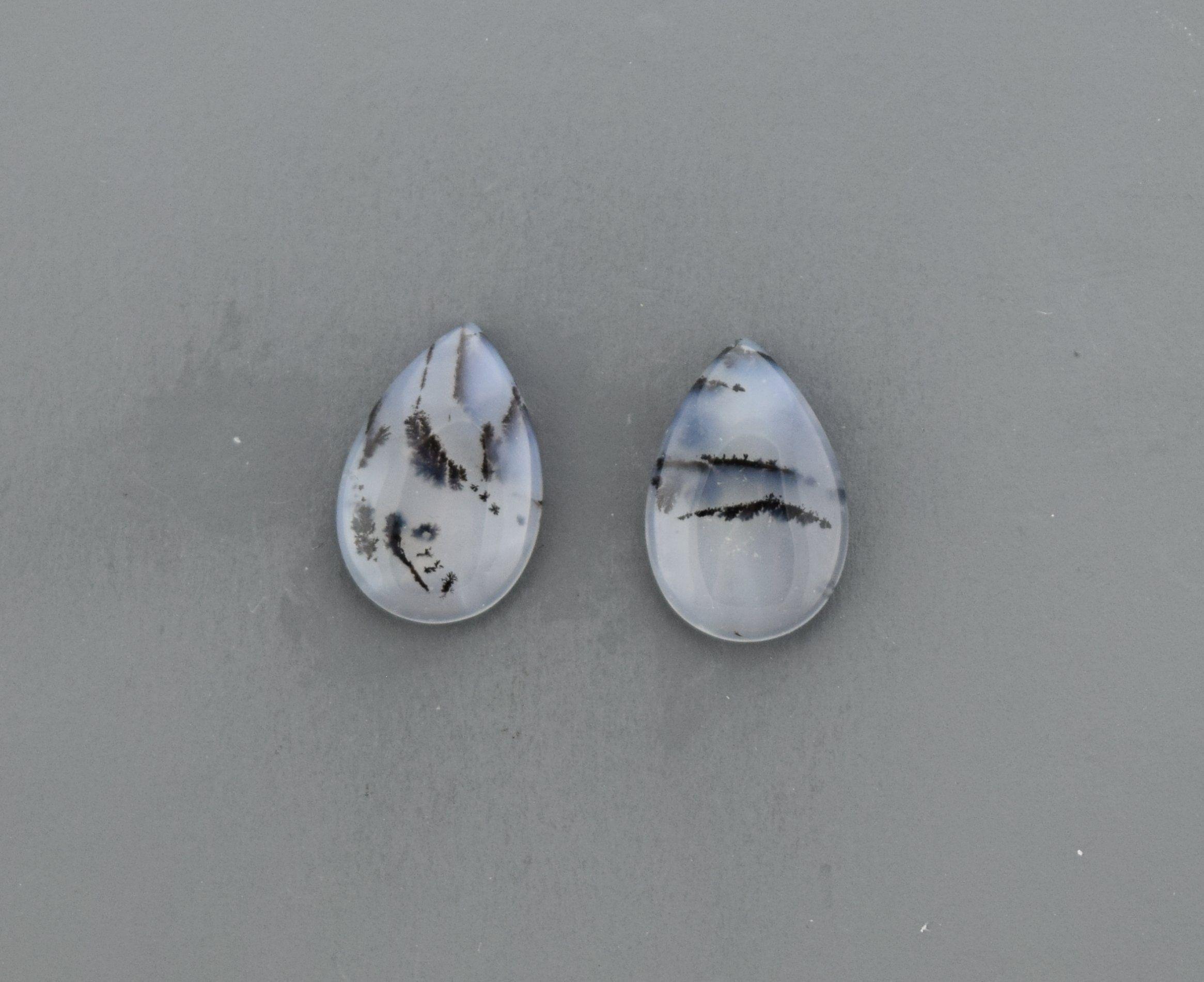 Dendritic Agate Cabochon Pair