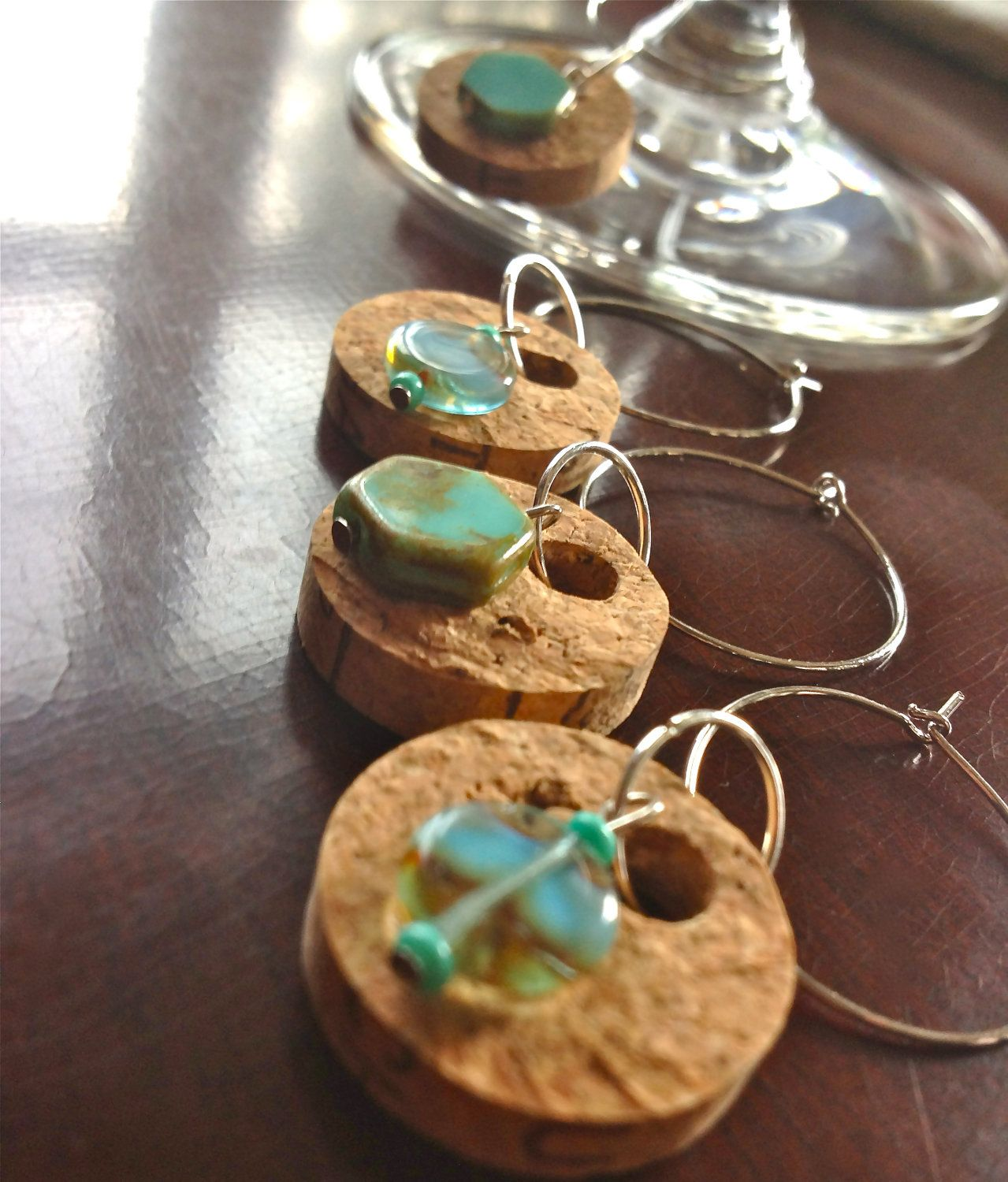 Cork Crafts For Weddings: Cork Wine Glass Charms Set Of 3 By Aileenrae On Etsy, $7