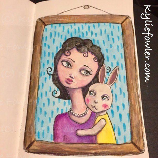 Progress tonight.......... #bunny #girl #mixedmedia #instagramart #aussieartist #illustrator #artist #instructor #luluart #rabbit #kyliefowler #stylized #portrait #bunny #love #framed #artwork #illustration #curls #artjournal #art journaling
