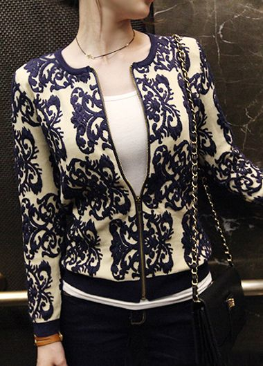 wholesale Trendy Zipper Closure Long Sleeve Printed Jacket for Woman