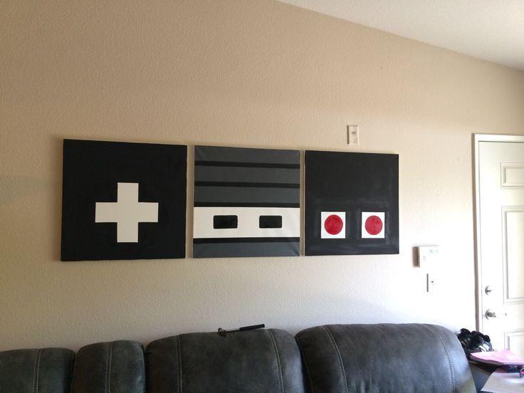 retro nintendo controller art easy diy d cors pinterest salle de jeux deco et maison. Black Bedroom Furniture Sets. Home Design Ideas