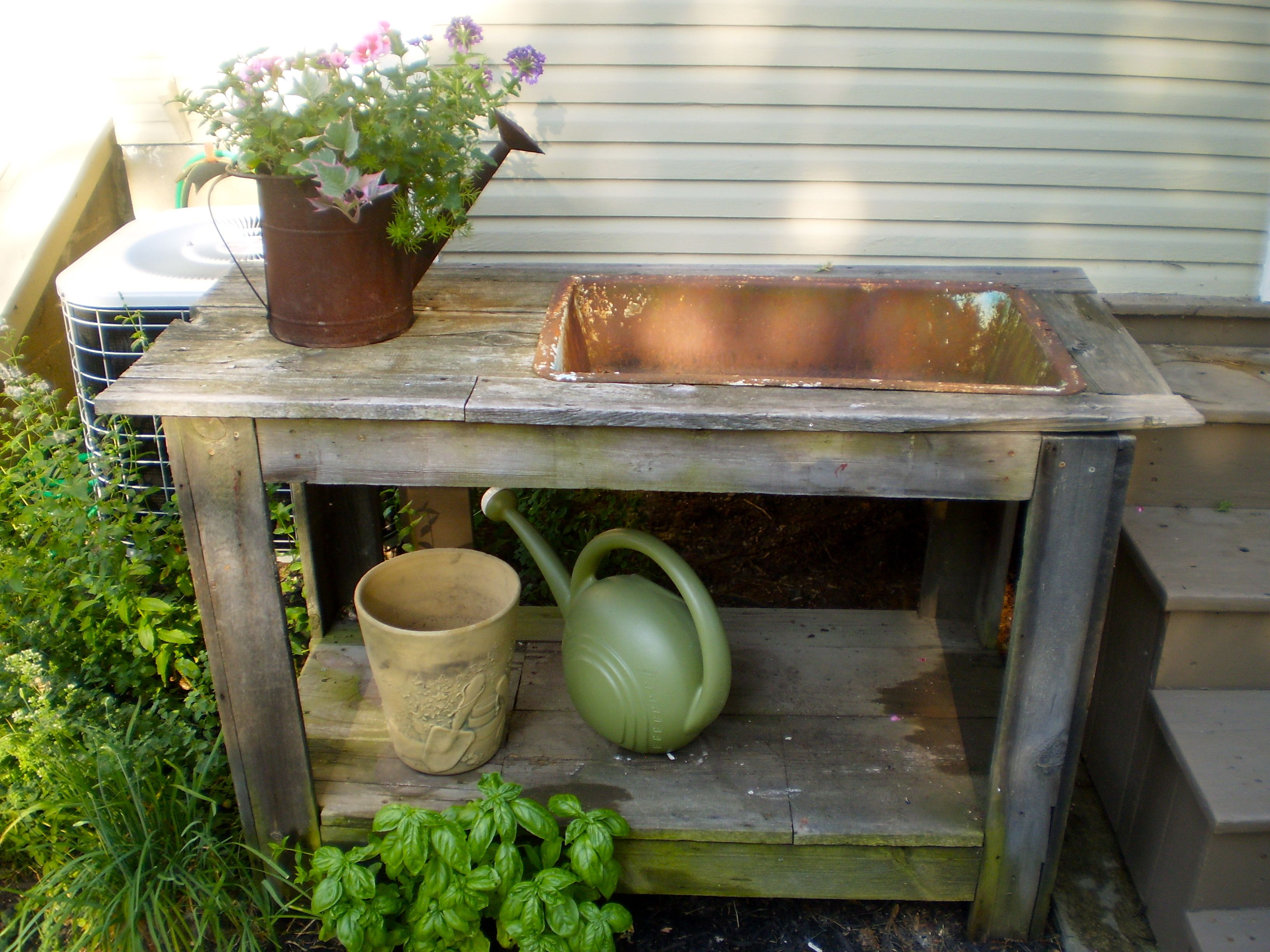 Potting Table Bench With Built In Cast Iron Sink From 1920