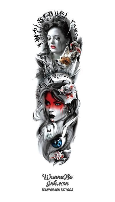 Crying Woman Fox Roses Time Blood Woman with Nose Ring Temporary Sleeve Tattoos