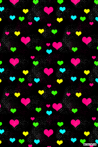 Neon Colorful Hearts IPhone Wallpaper