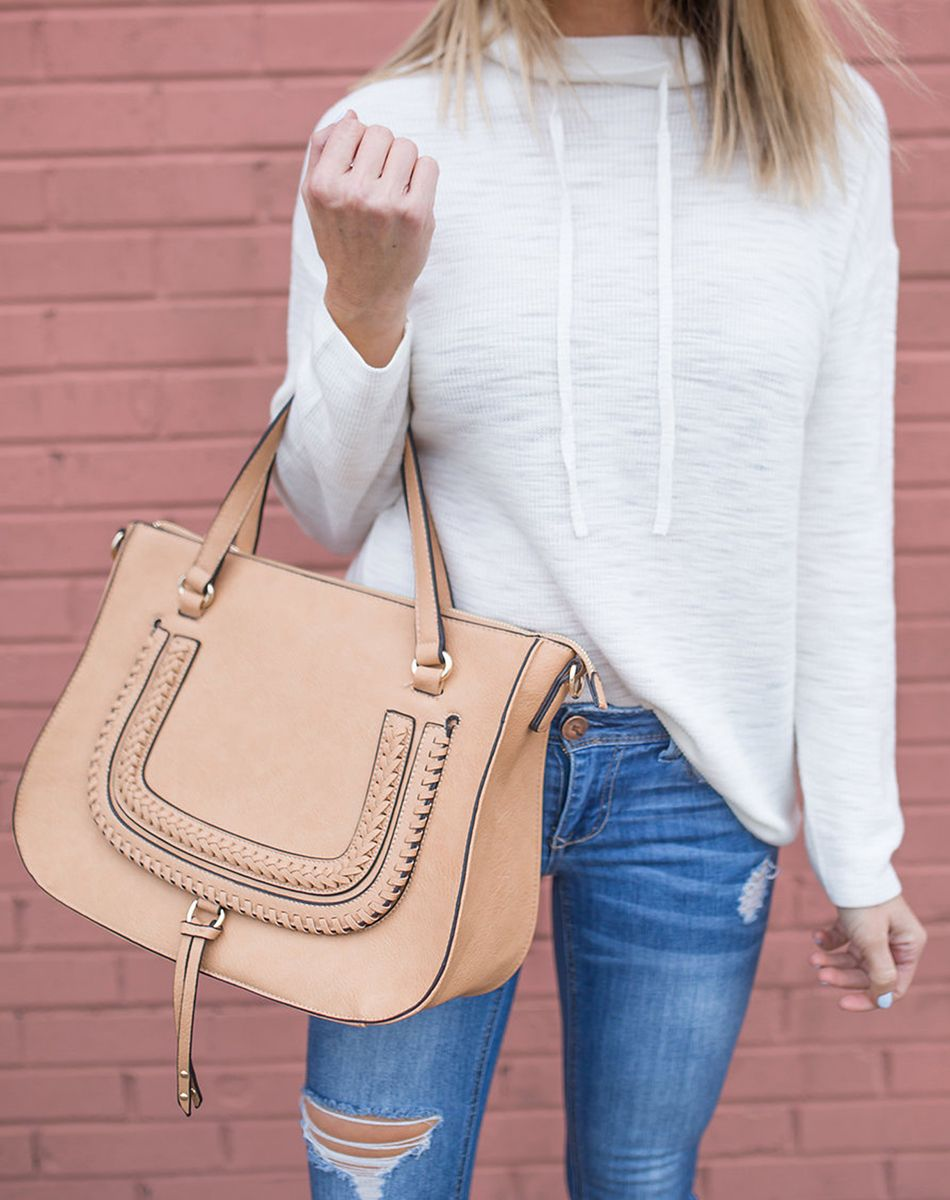 34f7cd0af Braided vegan leather handbag in camel | Sole Society Destin Satchel |  Photo: The Real Fashionista