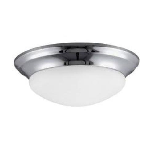 Nash Chrome Energy Star LED Two Light Ceiling Fixture Flush Mount with Satin Etched Glass