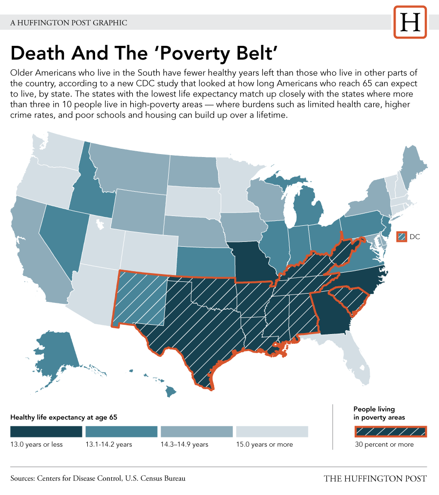 LOOK Death And The Poverty Belt Health Health Care And Maps - Us map southern region