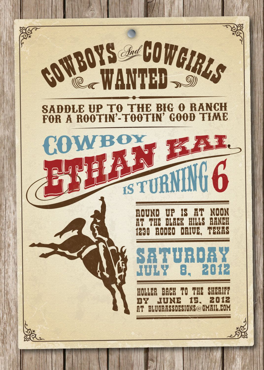 cowboy invitation wording and design ideas – Western Themed Birthday Invitations