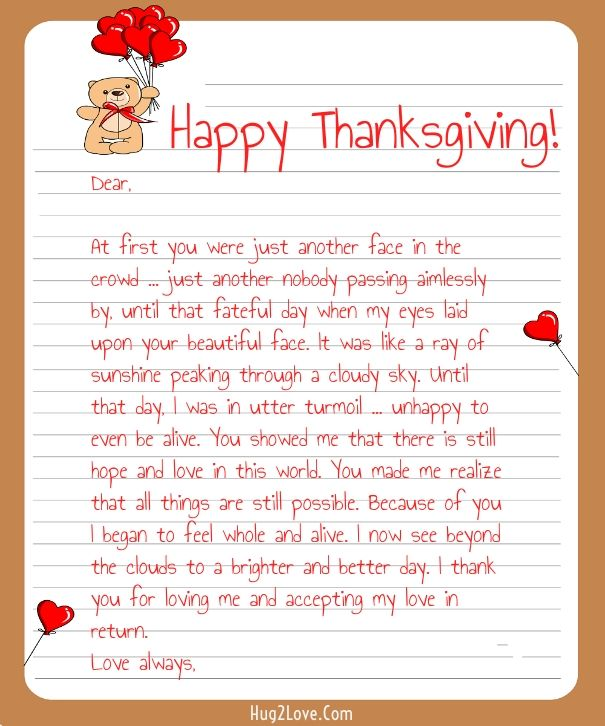 romantic letters for her thanksgiving letter for happy thanksgiving 24519