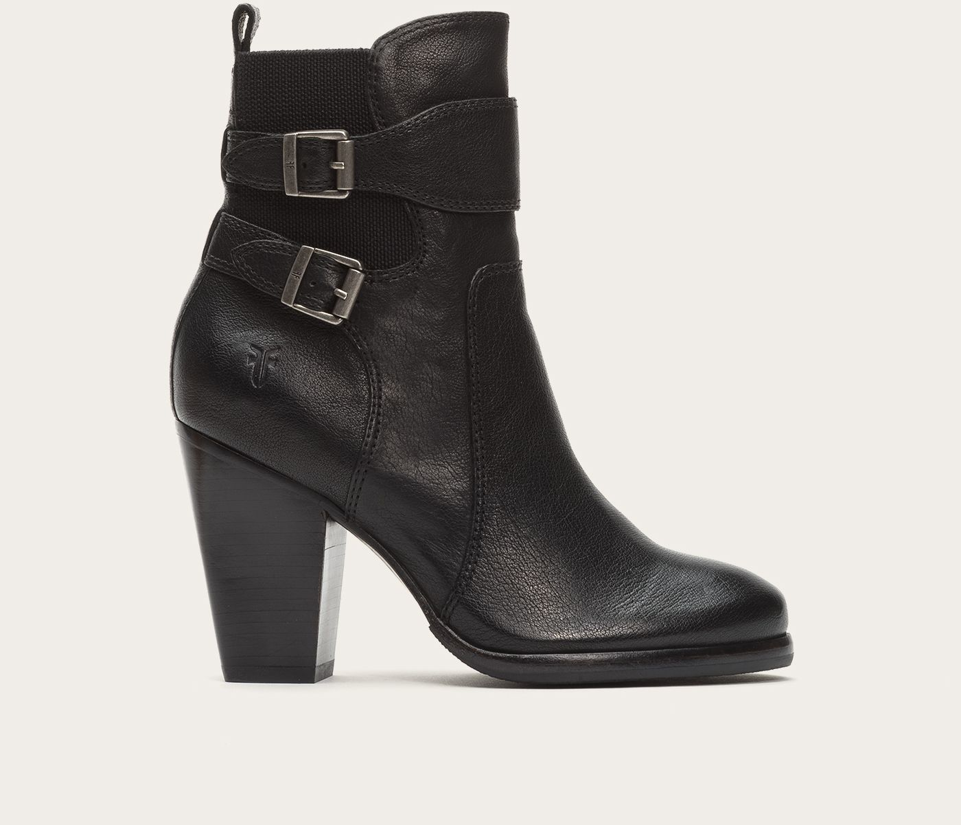 Nice and regal, this bootie commands attention. Buffalo leather that's been burnished just so gives this sleek ankle boot a uniquely textured look, while the double straps add distinctive style. Elastic gore back provides a comfortable, laid-back vibe, while the stacked leather heel gives you the height to make an entrance.