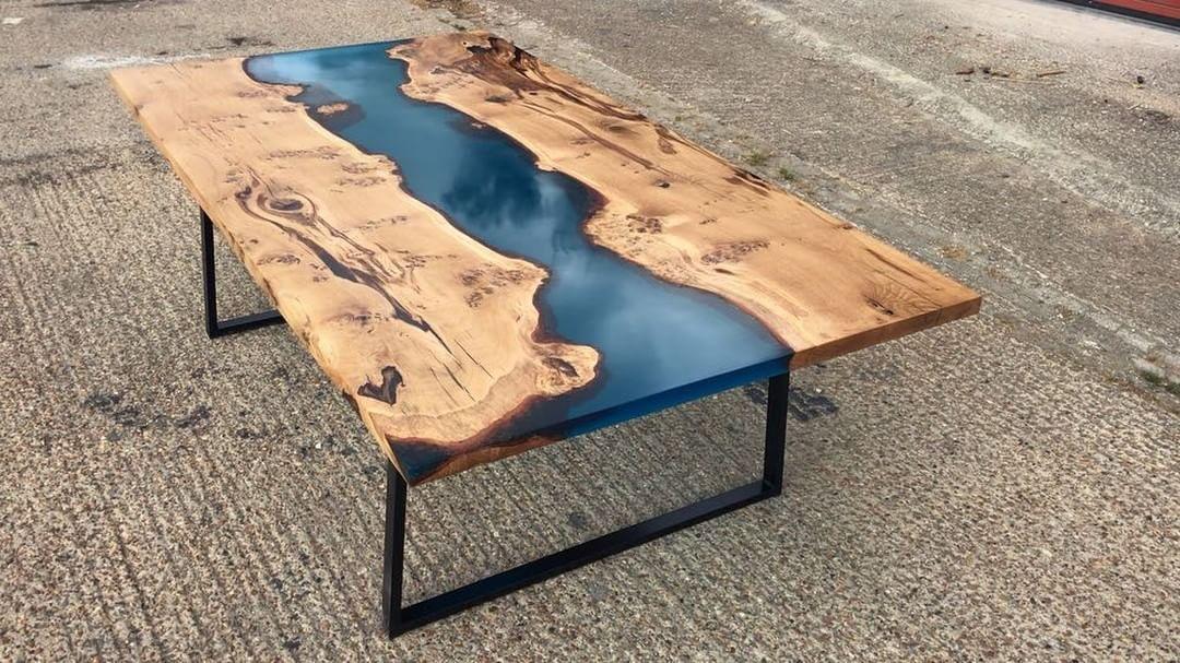 Oak Resin River Table Wood Resin Table Natural Wood Coffee Table Natural Wood Table